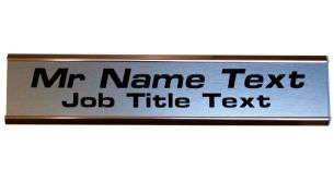 Large Door NamePlate Custom 2 lines of Text| Brushed Stainless steel effect with Gold Aluminium Holder
